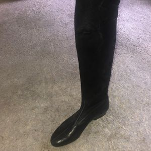 Robert Clergerie Black Leather over the knee boots